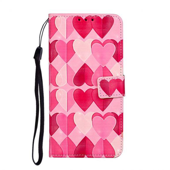 Housse iPhone 11 Coeurs + Cordon bandoulière
