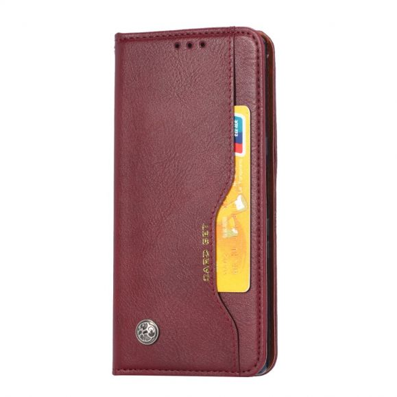 Housse iPhone 12 Pro Max simili cuir stand case - Vin Rouge
