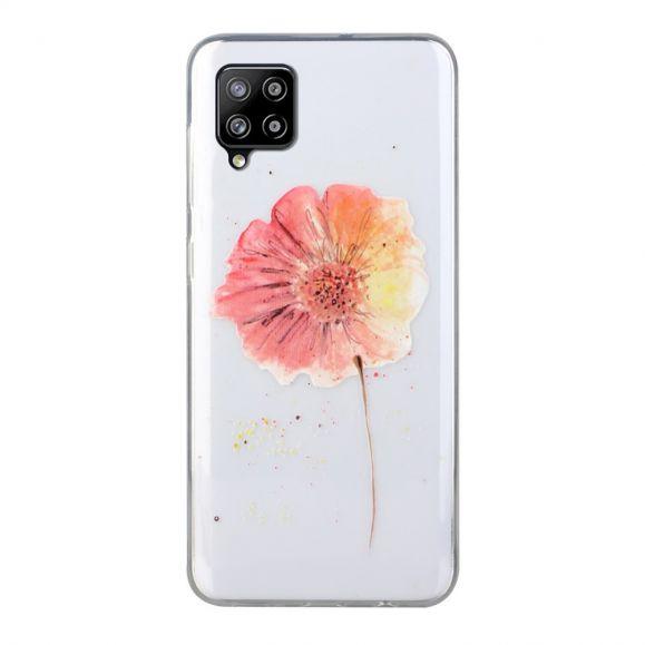 Coque Samsung Galaxy A12 fleur aquarelle