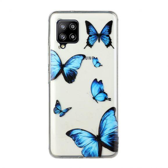 Coque Samsung Galaxy A12 Papillons Bleus