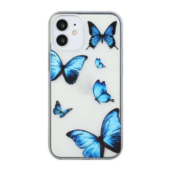 Coque iPhone 12 mini Papillons Bleus