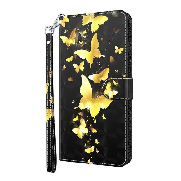 Housse Samsung Galaxy S21 Plus 5G papillons dorés