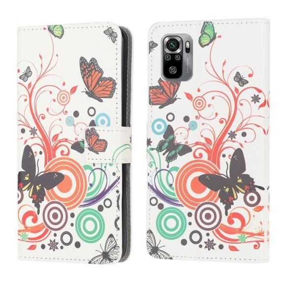 Housse Xiaomi Redmi Note 10 Papillons Rétro