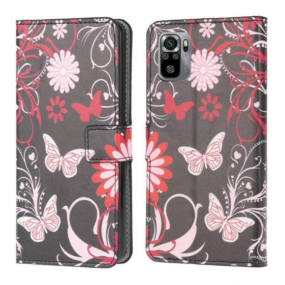Housse Xiaomi Redmi Note 10 papillons et fleurs
