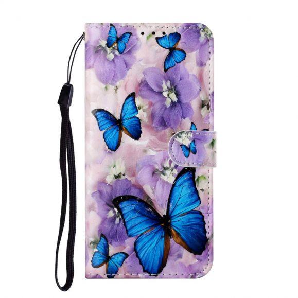 Housse Samsung Galaxy A12 Papillons Bleus et Fleurs