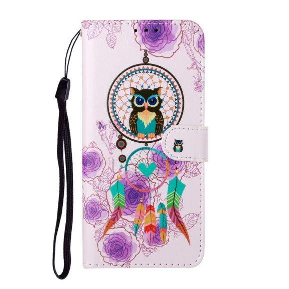 Housse Samsung Galaxy A12 hibou et attrape rêves colorés