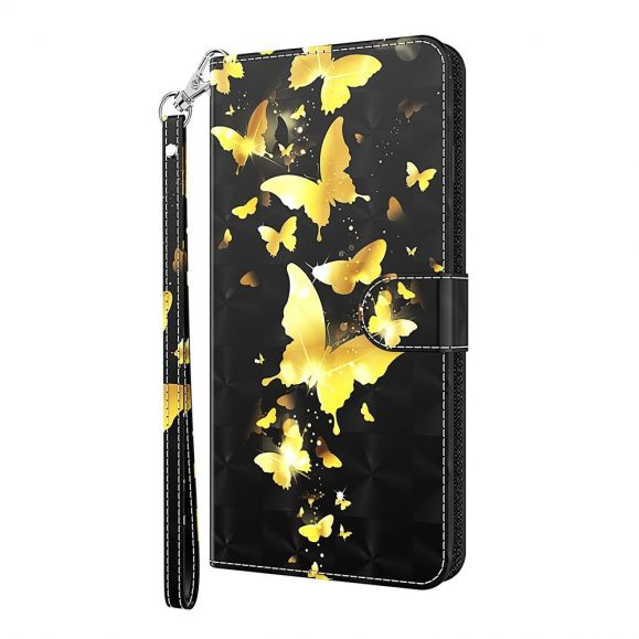 Housse Samsung Galaxy A52 5G / A52 4G papillons dorés