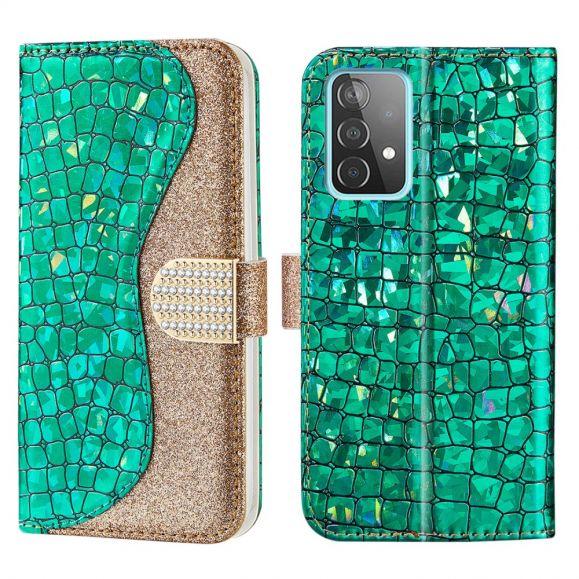 Housse Samsung Galaxy A52 / A52 5G Luxury Paillettes Effet Croco