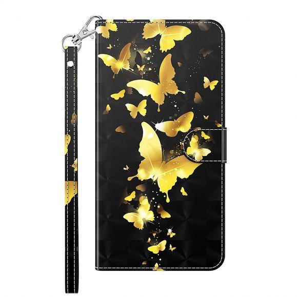Housse Xiaomi Redmi Note 10 5G / Poco M3 Pro papillons dorés