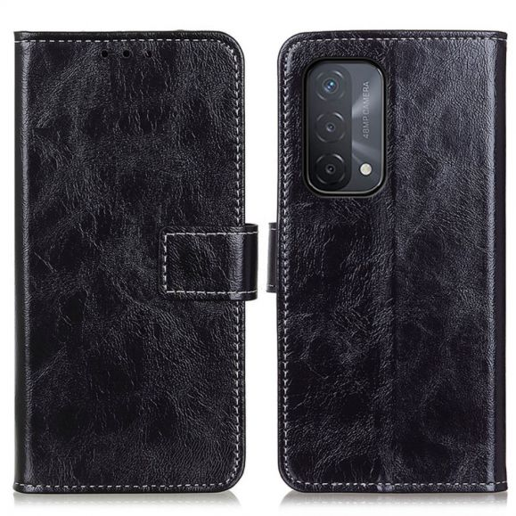 Housse Oppo A54 5G / A74 5G effet cuir luxueux coutures