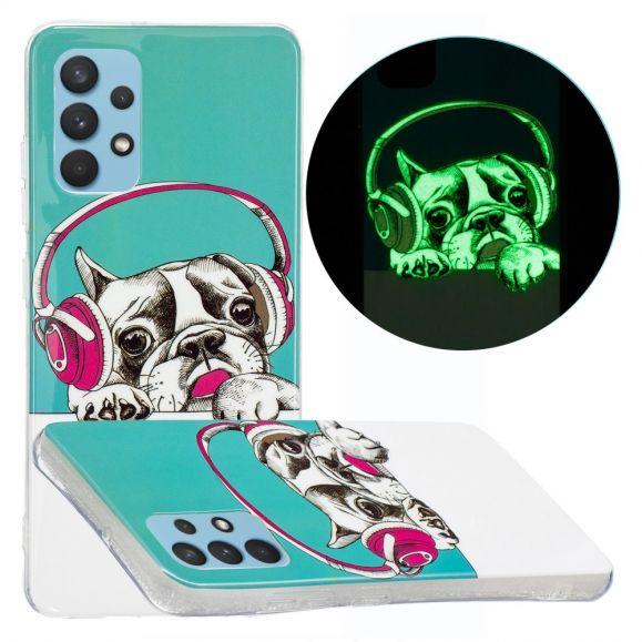 Coque Samsung Galaxy A32 4G Luminous chien écoutant la musique