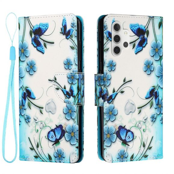 Housse Samsung Galaxy A32 4G fleurs bleues et papillons