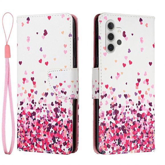 Housse Samsung Galaxy A32 4G motifs coeurs