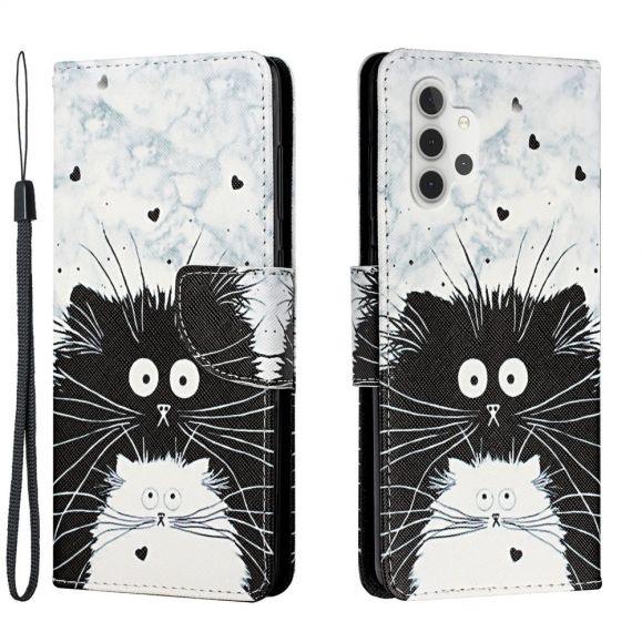 Housse Samsung Galaxy A32 4G chats noir et blanc