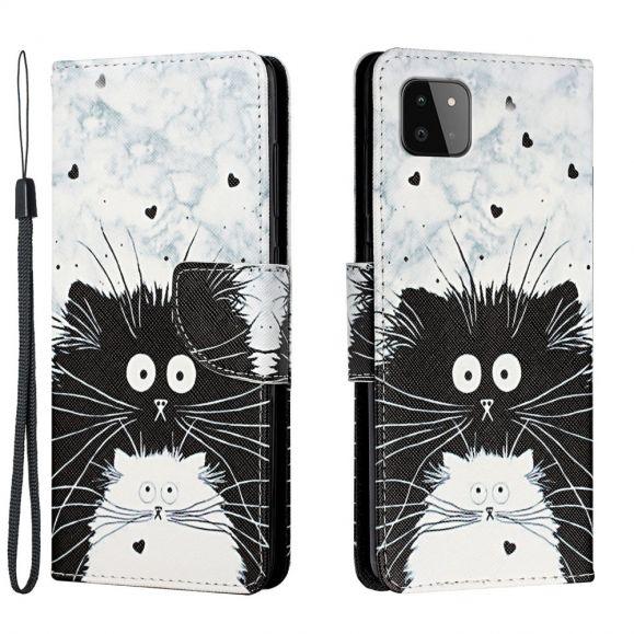 Étui Samsung Galaxy A22 5G chats noir et blanc