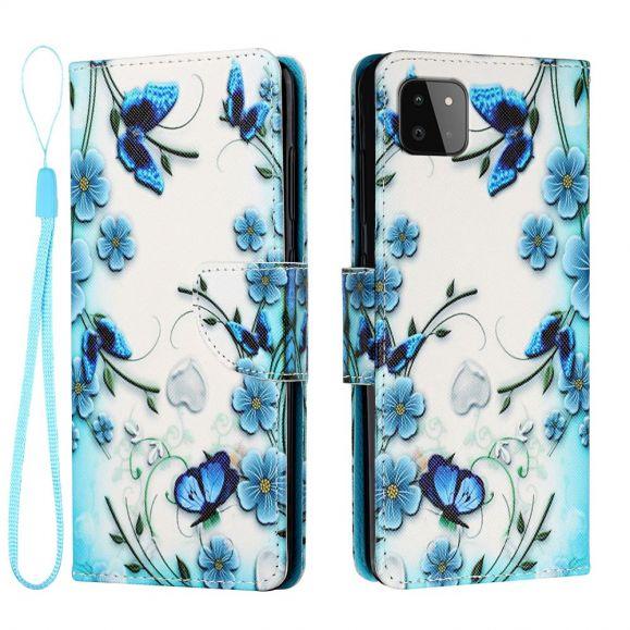 Étui Samsung Galaxy A22 5G fleurs bleues et papillons