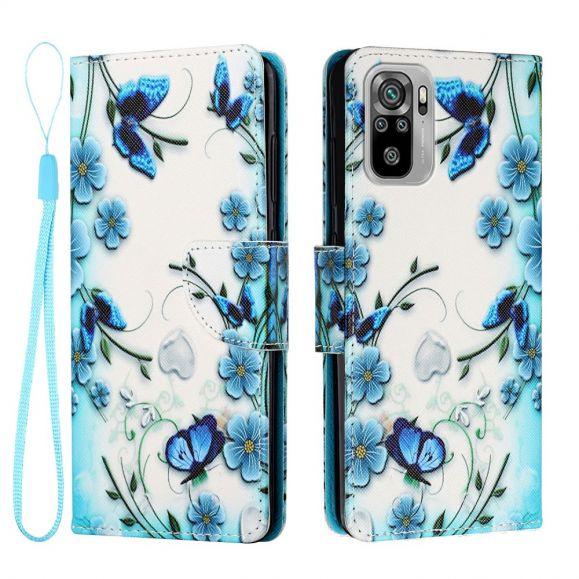 Housse Xiaomi Redmi Note 10 / Note 10S fleurs bleues et papillons