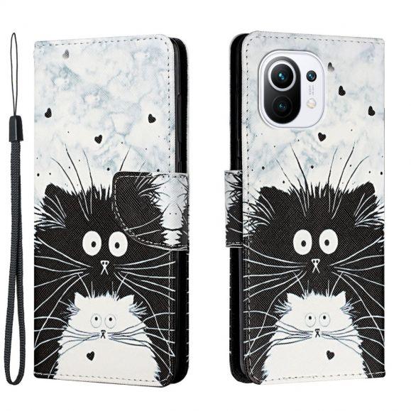 Housse Xiaomi Mi 11 chats noir et blanc