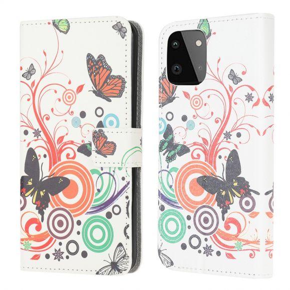 Housse Samsung Galaxy A22 5G Papillons Rétro