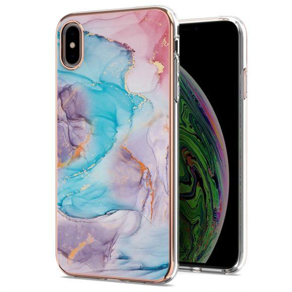 Coque iPhone XS Max marbre coloré bleu
