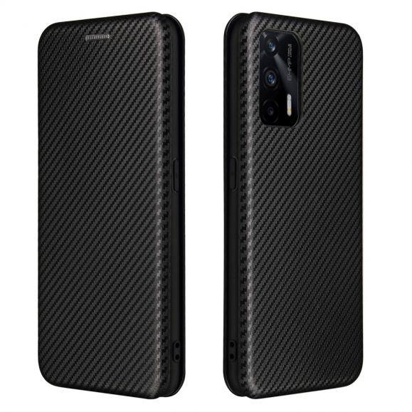 Housse Realme GT 5G simili cuir style fibre de carbone