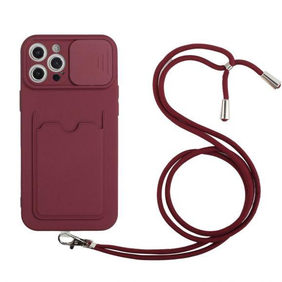 Coque iPhone 12 Pro Max cache caméra avec porte carte et cordon