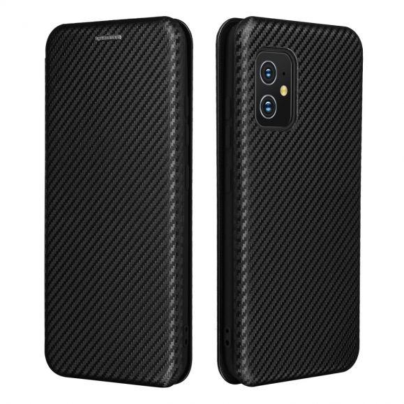 Housse Asus Zenfone 8 simili cuir style fibre de carbone