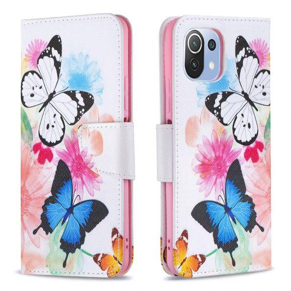 Housse Xiaomi Mi 11 Lite / Lite 5G papillons et fleurs colorées