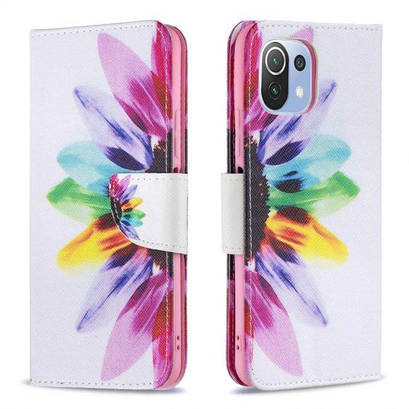 Housse Xiaomi Mi 11 Lite / Lite 5G avec rabat pétales colorés
