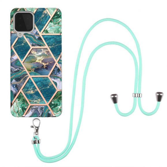 Coque Samsung Galaxy A22 4G Géométrique à cordon