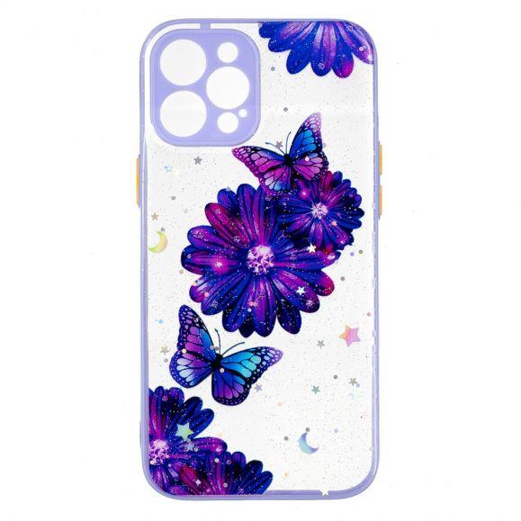 Coque iPhone 12 Pro Max fleurs et papillons violets