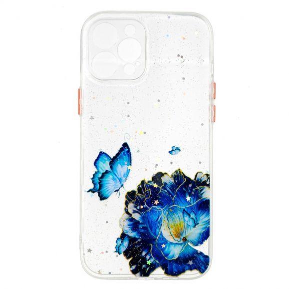 Coque iPhone 12 Pro Max fleurs et papillons bleus