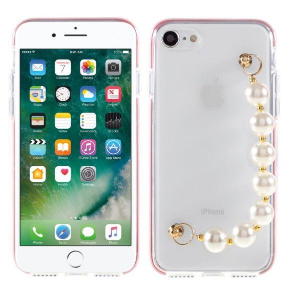 Coque iPhone SE 2 / 8 / 7 Strap Perle Transparent