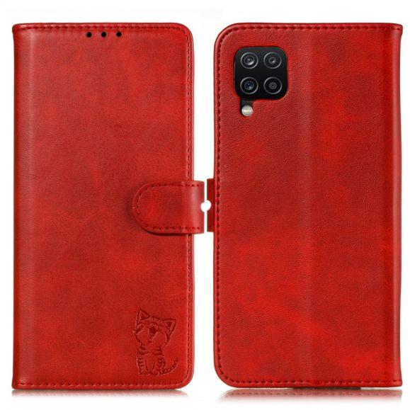 Étui Samsung Galaxy A12 Chaton effet cuir mat