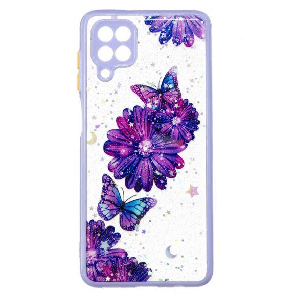 Coque Samsung Galaxy A12 fleurs et papillons violets