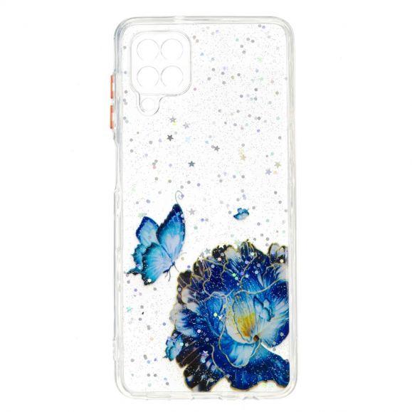 Coque Samsung Galaxy A12 fleurs et papillons bleus