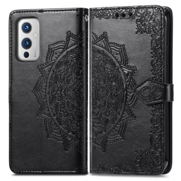 Housse OnePlus 9 Mandala relief simili cuir rétro