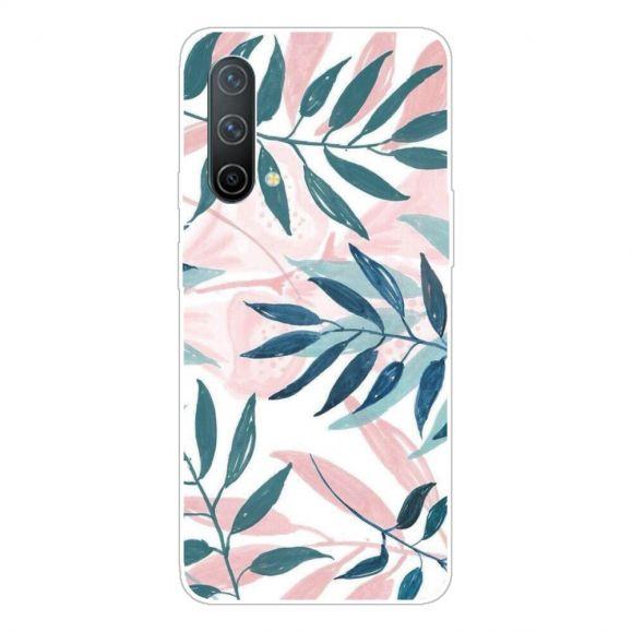 Coque OnePlus Nord CE 5G Feuilles Vertes et Roses