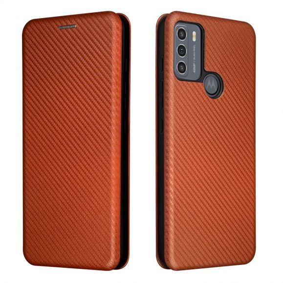 Housse Motorola Moto G50 simili cuir style fibre de carbone