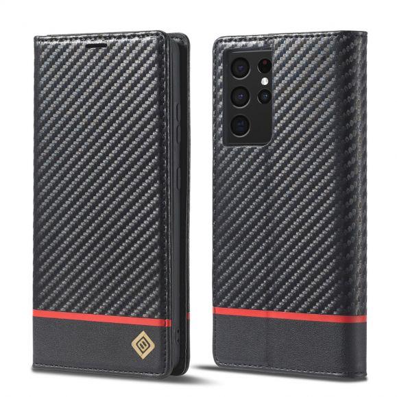Housse Samsung Galaxy S21 Ultra 5G effet cuir fibre de carbone - M1