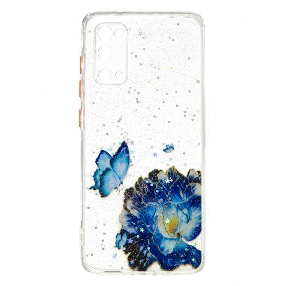 Coque Samsung Galaxy S20 fleurs et papillons bleus