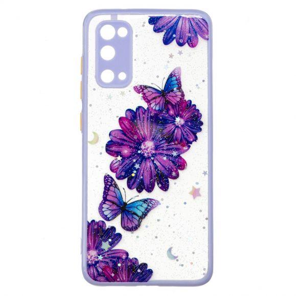 Coque Samsung Galaxy S20 fleurs et papillons violets