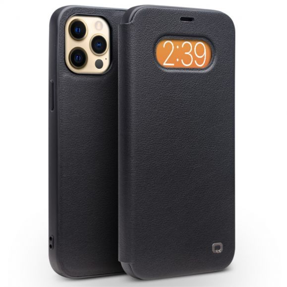 Housse iPhone 12 / 12 Pro cuir véritable avec fenêtre