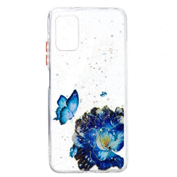 Coque Xiaomi Poco M3 fleurs et papillons bleus