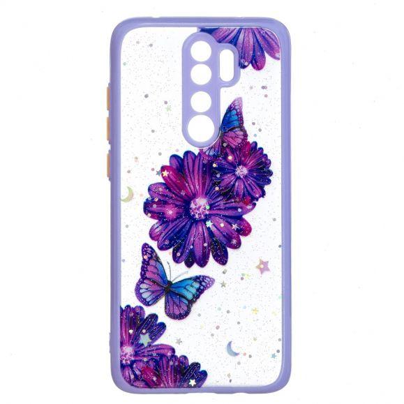 Coque Xiaomi Redmi Note 8 Pro fleurs et papillons violets