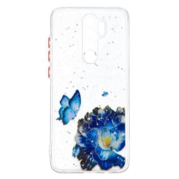Coque Xiaomi Redmi Note 8 Pro fleurs et papillons bleus