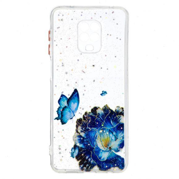 Coque Xiaomi Redmi Note 9S / Redmi Note 9 Pro fleurs et papillons bleus