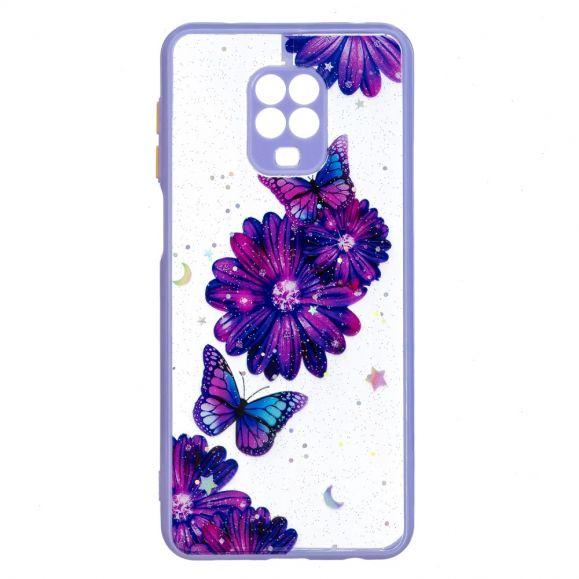 Coque Xiaomi Redmi Note 9S / Redmi Note 9 Pro fleurs et papillons violets