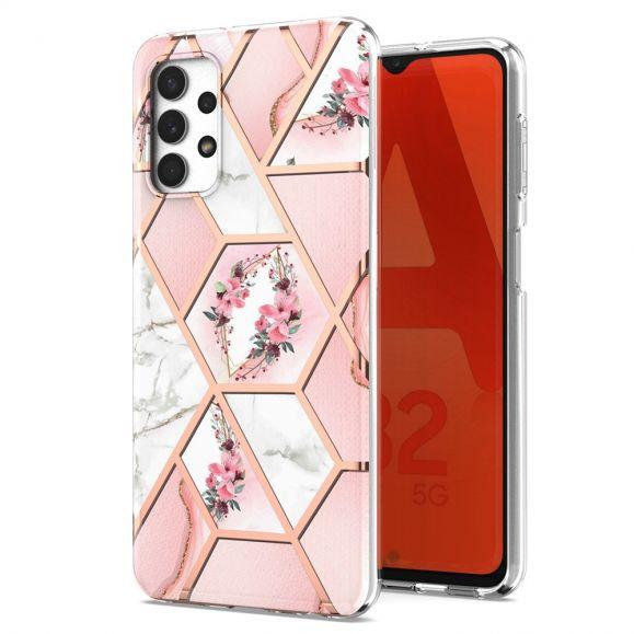 Coque Samsung Galaxy A32 5G marbre et couronne de fleurs