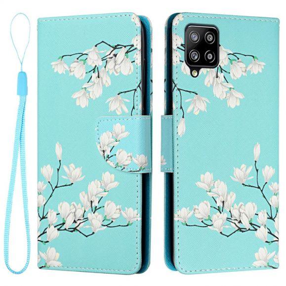 Housse Samsung Galaxy A22 4G Fleurs Blanches